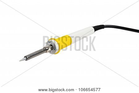 Isolated solderer with yellow handle