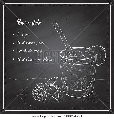Cocktail Bramble on black board