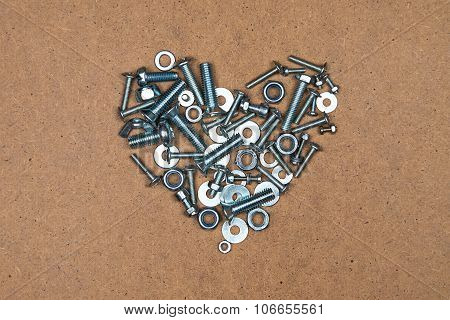 Heart from bolts and nuts