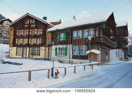 Exterior of the traditional wooden buildings in Murren, Switzerland.