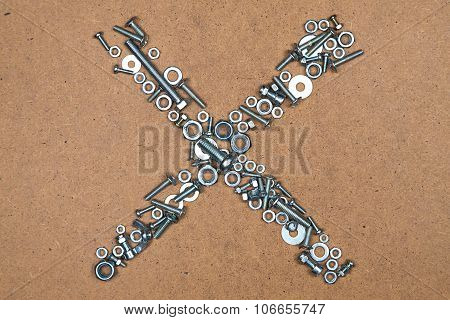 Cross from bolts and nuts