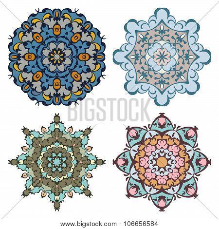 Set Of Four Cold Color Mandalas