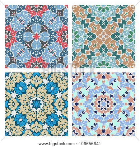 Set Of Four Cold Color Seamless Eastern Patterns