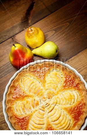 Beautiful fresh organic pear tart
