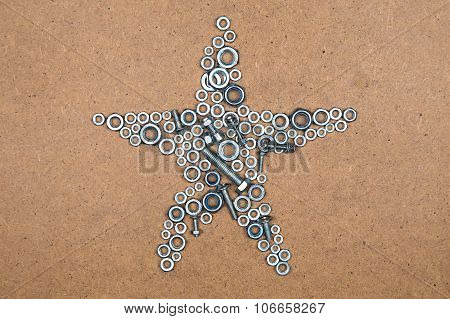 Star from bolts and nuts