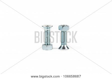 Isolated photo of bolts and nuts on white