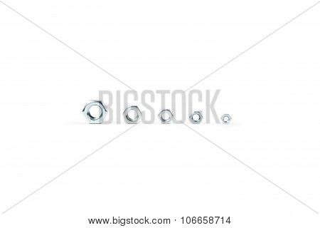 Isolated photo of five nuts on white