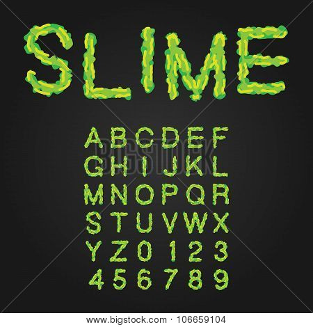 Halloween Style Typeface. Green Slime. Uppercase Letters And Num