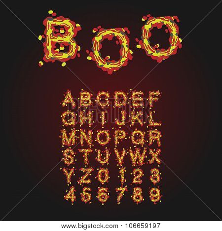 Halloween Style Typeface. Uppercase Letters And Numbers. Latin A