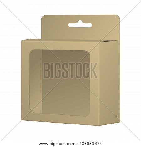 Realistic Recycled Card Product Package Box Mockup With Window And Hang Slot. Blank Container, Packa