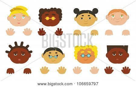 Kids Faces And Hands. Different Ethnics, Isolated.