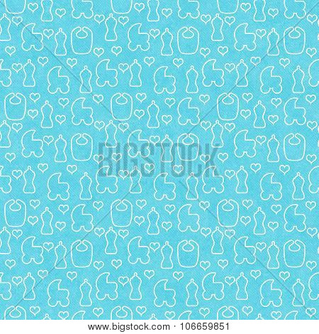 Teal And White Baby Tile Pattern Repeat Background