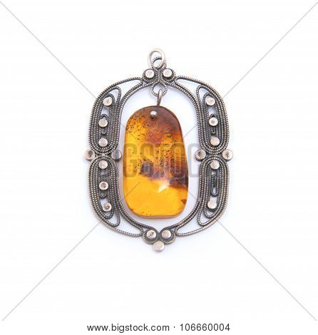 Yellow Amber In A Silver Frame..