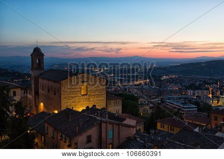 Perugia, View Of The Old City And Chiesa Di Santo Spirito In Night, Umbria, Italy