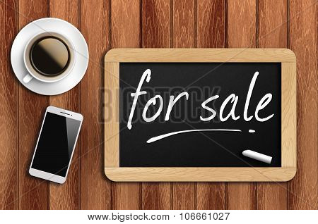Coffee, Phone  And Chalkboard With Word For Sale