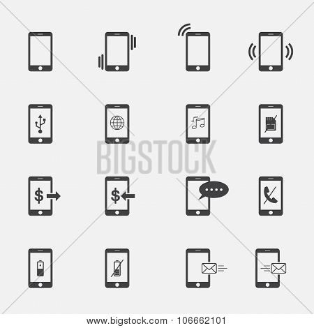 Phone Symbol Icons Set.