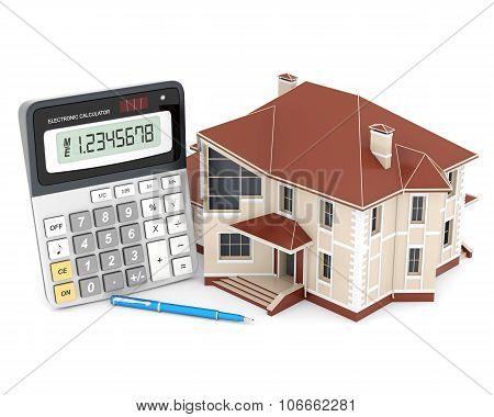 House, Calculator And Pen