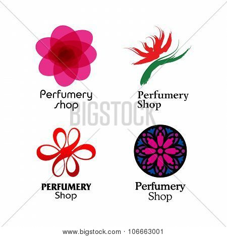 Red, green and purple perfumery brand logos set
