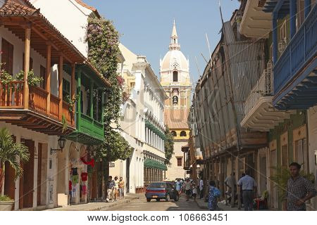 street of Cartagena de Indias, Colombia