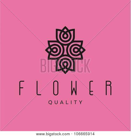 Simple and graceful floral monogram design template, Elegant lineart logo design, vector illustratio