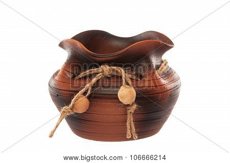 Clay Vintage Pot Isolated On White