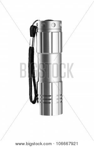 Silver Pocket Flashlight Isolated On White