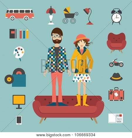 Hipster Needs Couple Style Concept.