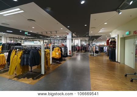 COLOGNE, GERMANY - SEPTEMBER 19, 2014: interior of shopping store in Cologne. Shopping in Cologne can be done easily within walking distance.