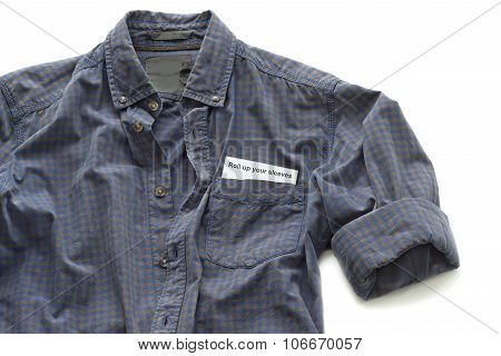 Working shirt with a business card