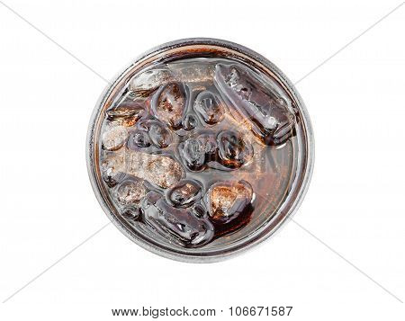 Glass Of Cola With Ice From Top View
