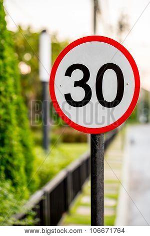 Speed Limit Sign On Street