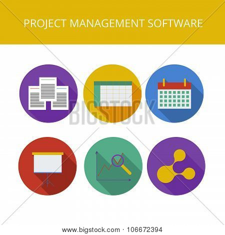 Project management software icons set