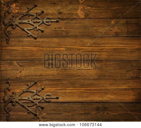Wood Background, Old Metallic Ornament, Wooden Planks Texture