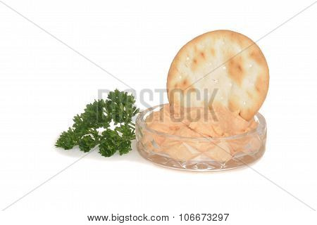 crystal dish with salmon pate