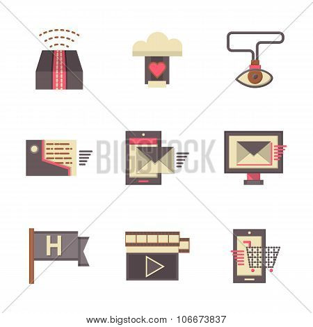 Internet support flat color vector icons set
