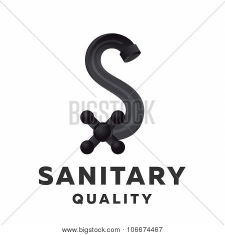 Mixer tap pipe form letters S logo, icon, vector illustrations