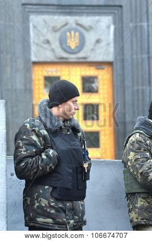 KIEV , UKRAINE - NOV 1, 2015. Nazional Guard soldiers secure block of  Government buildings during protests of Gay Party of Ukraine . November 1, 2015 in Kiev, Ukraine