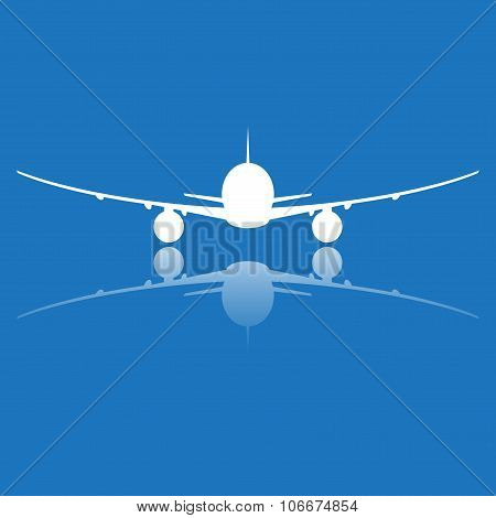 Aircraft or airplane icon. Plane silhouette isolated on blue background. Vector illustration.