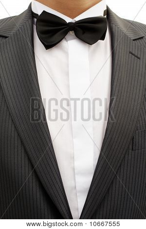 Breast Of Young Man In Tuxedo With Bow Tie