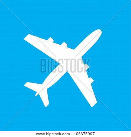 Airplane or aircraft icon on blue background. Vector plane silhouette.