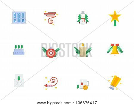 Christmas events symbols flat color vector icons