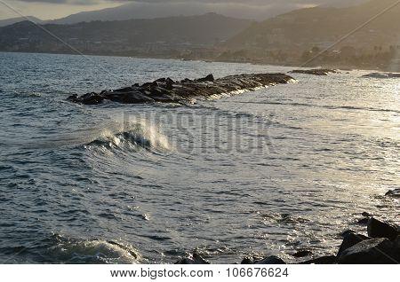 View Of The Sea Level, Riviera Di Ponente, Liguria