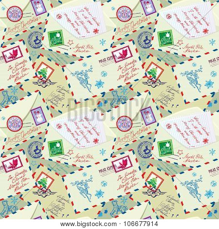 Seamless Pattern With Xmas Stamps, Envelops, Labels, Cards, Hand Written Texts, Christmas And New Ye