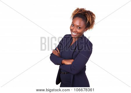Confident African American Business Woman With Folded Arms