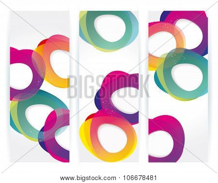 Vector Banners With Abstract Multicolored Background. Modern Geometric Pattern.