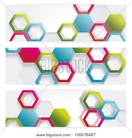 Vector Banners With Abstract Multicolored Polygonal Hexagon Background. Modern Geometric Pattern.