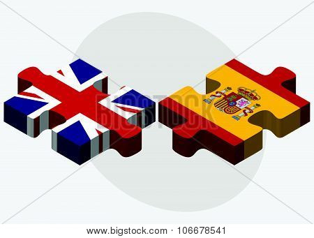 United Kingdom And Spain Flags