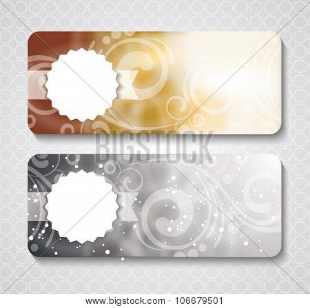 Discount Coupon Template With Premium Pattern On Silver And Gold Background