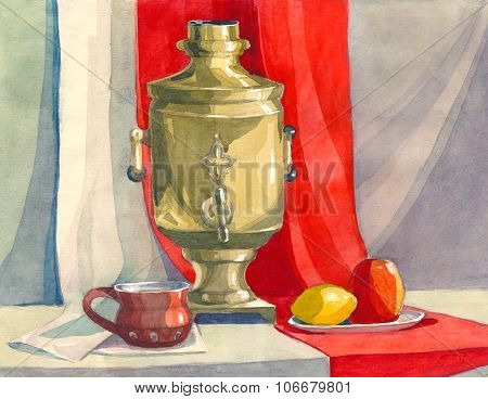 decorative watercolor still life in the classical Russian style