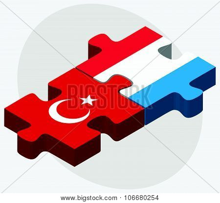 Turkey And Luxembourg Flags